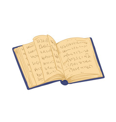 Ancient open book with old pages antique thick vector