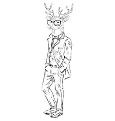 Anthropomorphic design of deer hipster vector