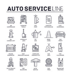 Auto service concept thin line icons with flat vector
