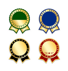 award ribbons isolated set gold red design medal vector image