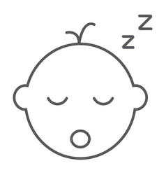 Baby boy sleep thin line icon child vector