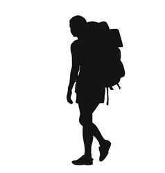 Backpacker silhouette vector