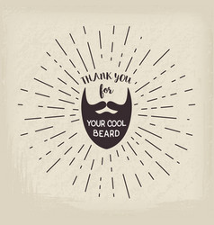 beard with hipster lettering vector image