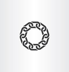 Black chain link circle icon symbol vector