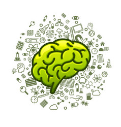 Brain green icons on a white background vector