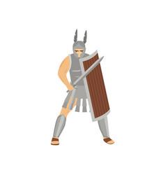 brave caucasian centurion with menacing look in vector image