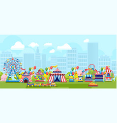 Bright amusement park in city vector
