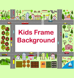 Cartoon city frame with houses vector
