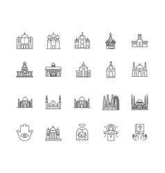 church line icons signs set outline vector image