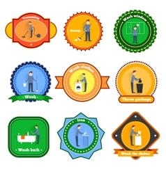 Cleaning label set vector image