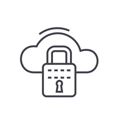 cloud security line icon sign vector image