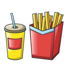 cola and fri icon cartoon style vector image
