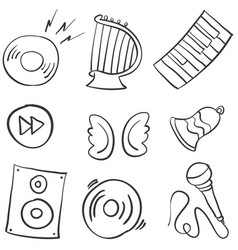 collection stock music object doodles vector image