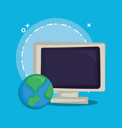 computer and earth planet icon vector image