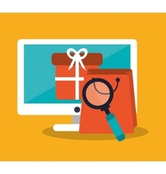 Computer shopping and ecommerce design vector