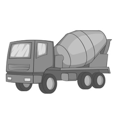 Concrete mixer icon gray monochrome style vector
