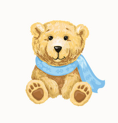 cute bear in a scarf sitting isolated vector image