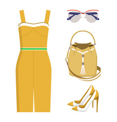 Cute set summer wear color vector
