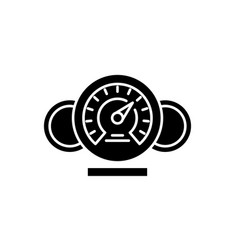 Dashboard black icon sign on isolated vector
