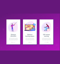 distance learning app interface template vector image