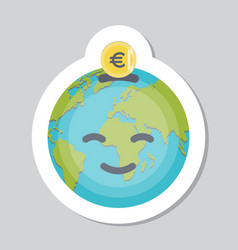 Donate sticker with earth emoji vector