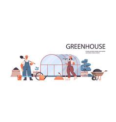 Farmers in uniform working on greenhouse gardening vector