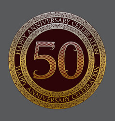 Fiftieth happy anniversary celebration logo symbol vector