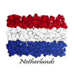 Flag love netherlands flag heart glossy with vector