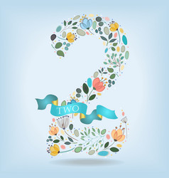 Floral number two with blue ribbon vector