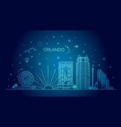 florida linear banner orlando city vector image