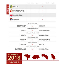football 2018 group e match schedule all vector image