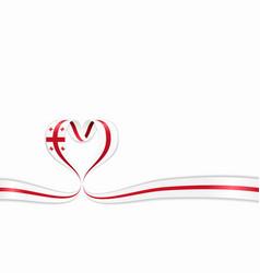 Georgian flag heart-shaped ribbon vector