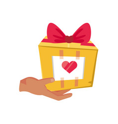 Gift with hand on white background vector