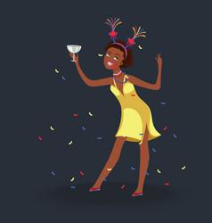 girl having fun at students party vector image