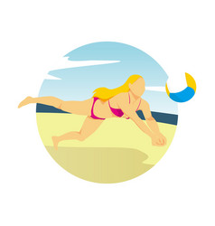 girl playing beach volleyball summer activity vector image