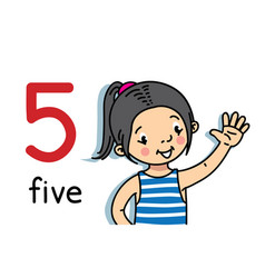 girl showing five hand counting education card vector image