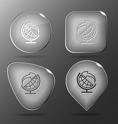 Globe and arrow Glass buttons vector