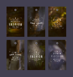 Graphic design of tags for denim clothing vector