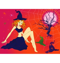 Halloween girl in sinister moonlight night vector