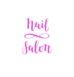 hand-drawn nail salon lettering design vector image