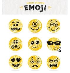 hand drawn set emoticons set emoji vector image