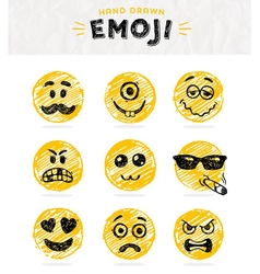 Hand drawn set of emoticons set of emoji vector image