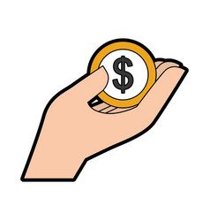 hand human with coin money dollar icon vector image