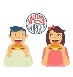 Happy boy and girl are eating a big hamburgers vector image