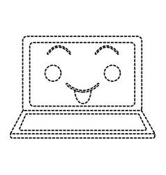 Happy laptop kawaii icon image vector