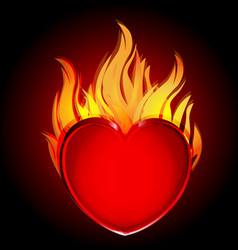 heart in fire flames icon on black vector image