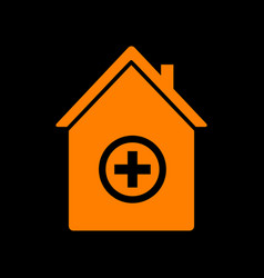 Hospital sign orange icon on black vector