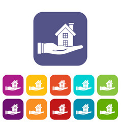 House in hand icons set vector