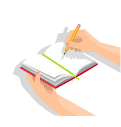 human hands and notebook isolated vector image