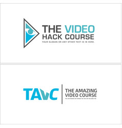 Industrial business video course eye wordmark logo vector